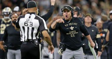 Sean Payton during the Saints/Panthers game