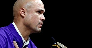 LSU Tigers defensive coordinator Dave Aranda during the College Football Playoff National Championship media day at Xavier University of Louisiana Convocation Center.
