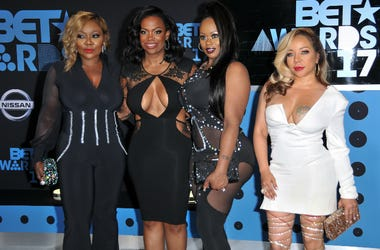 Tamika Scott, Kandi Burruss, Tameka Cottle and LaTocha Scott of Xscape at the 2017 BET Awards held at Microsoft Theater on June 25, 2017 in Los Angeles, CA.
