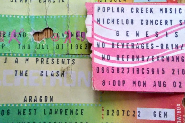 ticket stubs from 1982: Jerry Garcia Auditorium, Clash Aragon, Genesis Poplar Creek
