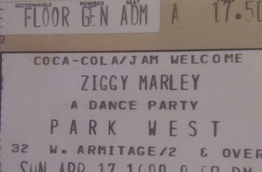 Ziggy Marley ticket stub 1988