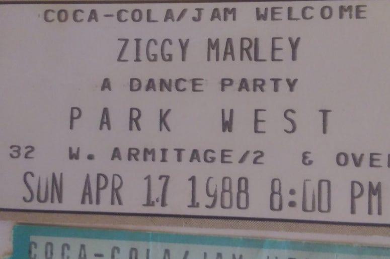 Ziggy Marley ticket stub 1988