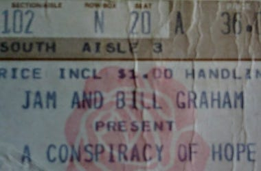 Conspiracy of Hope concert ticket stub 1986 Chicago