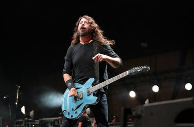 Dave Grohl of 'Foo Fighters' performs on stage during Cal Jam 18