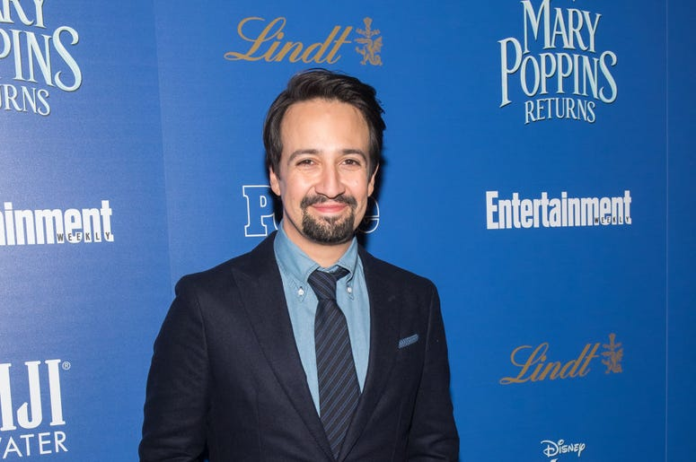 """NEW YORK, NY - DECEMBER 17: Actor/playwright Lin-Manuel Miranda attends The Cinema Society's screening of """"Mary Poppins Returns"""" co-hosted by Lindt Chocolate at SVA Theatre on December 17, 2018 in New York City. (Photo by Mike Pont/Getty Images for Lindt"""