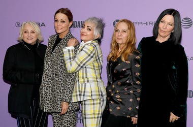 "PARK CITY, UTAH - JANUARY 24: Gina Shock, Belinda Carlisle, Jane Wiedlin, Charlotte Caffey, and Kathy Valentine attend the ""The Go-Gos"" premiere during the 2020 Sundance Film Festival at Library Center Theater on January 24, 2020 in Park City, Utah. (Phot"