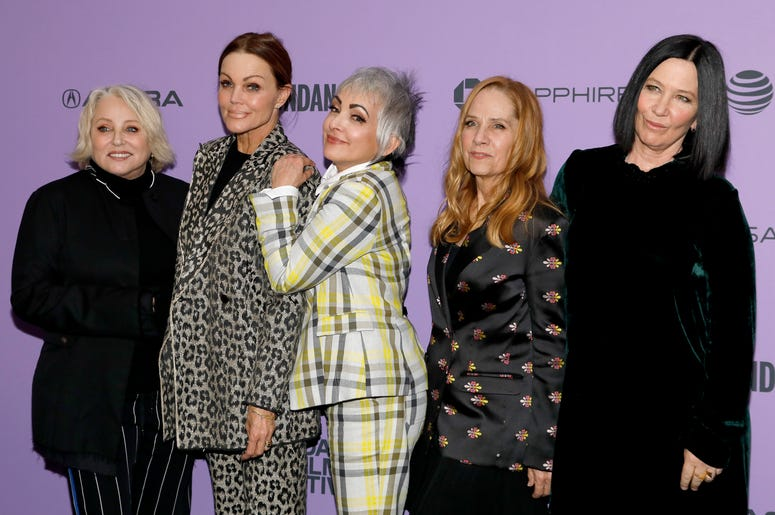 """PARK CITY, UTAH - JANUARY 24: Gina Shock, Belinda Carlisle, Jane Wiedlin, Charlotte Caffey, and Kathy Valentine attend the """"The Go-Gos"""" premiere during the 2020 Sundance Film Festival at Library Center Theater on January 24, 2020 in Park City, Utah. (Phot"""