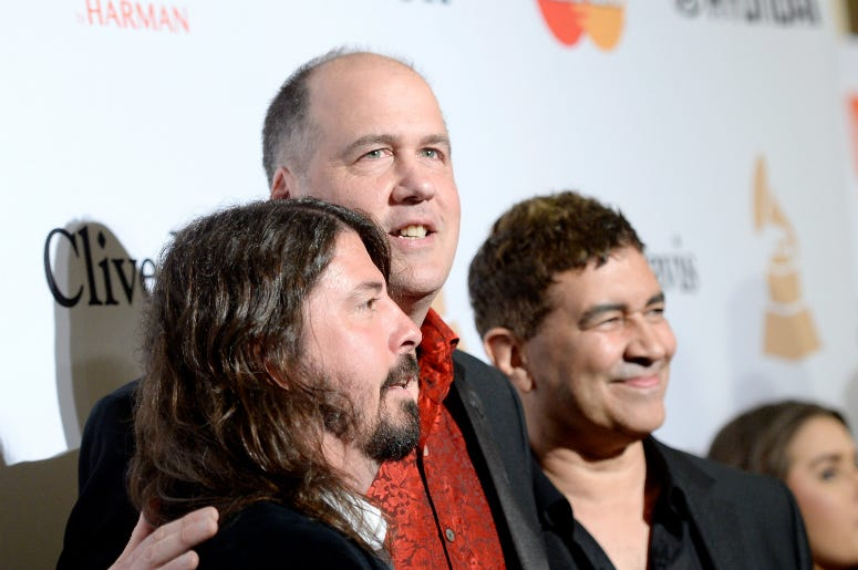 Dave Grohl, Krist Novoselic, and Pat Smear attend the 2016 Pre-GRAMMY Gala