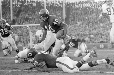 11/30/1969-Chicago, IL- Chicago Bears RB Gale Sayers (40) finds an open spot and leaps over teammate, Bob Wallace (89), rushing for 20 yards in the 2nd quarter of the game with the Cleveland Browns.