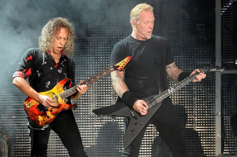 James Hetfield and Kirk Hammett of Metallica perform a concert at the Rose Bowl.