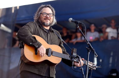 Jeff Tweedy of Wilco plays guitar in concert