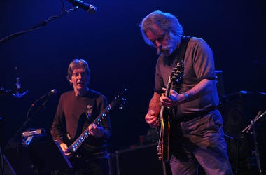 Phil Lesh and Bob Weir of the Grateful Dead perform live in concert.