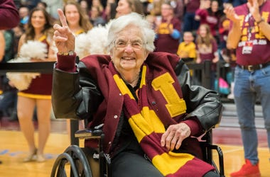 Mar 25, 2018; Chicago, IL, USA; Loyola Ramblers team chaplain Sister Jean Dolores-Schmidt celebrates at the Gentile Arena after capturing the NCAA South Regional Championship last night to move onto the Final Four. Mandatory Credit: Patrick Gorski-USA TOD