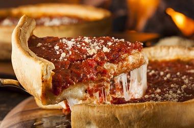 Slice of Chicago deep dish pizza.