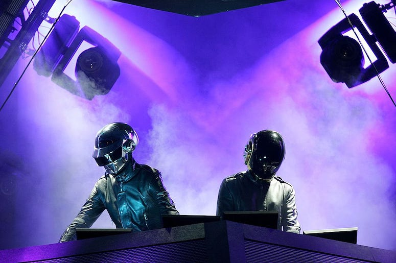 Daft Punk performs live in concert.