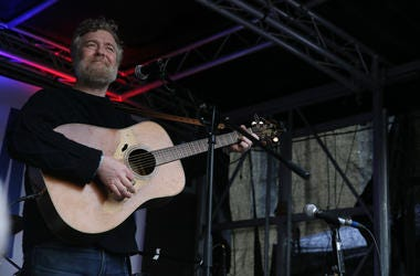 12/12/2017 - Oscar winning Singer Glen Hansard performs at a peaceful protest concert to raise awareness of homelessness in Ireland outside Leinster House, Dublin.