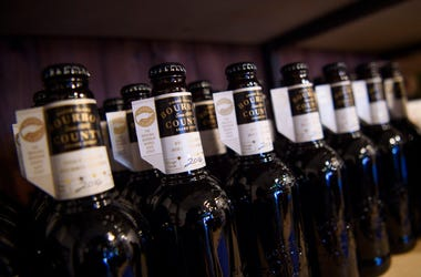 11/25/2016 - Some of the 100 bottles of Bourbon County Stout from Goose Island Beer on display, as they launch in the UK for the first time on Black Friday at Clapton Craft in Kentish Town, London. (Photo by PA Images/Sipa USA)