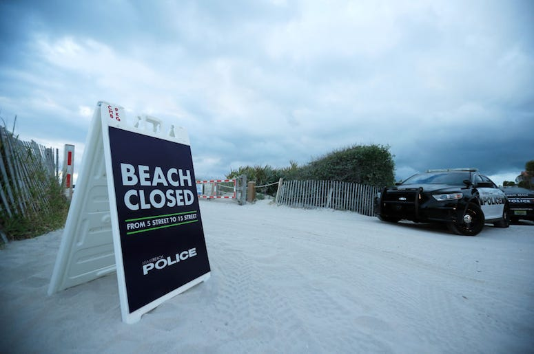 A beach is closed for spring break.