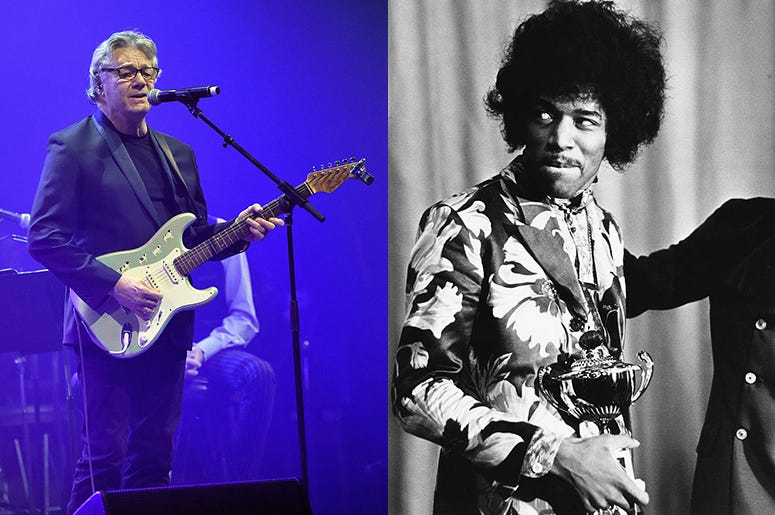 Side by side photo of Steve Miller and Jimi Hendrix.
