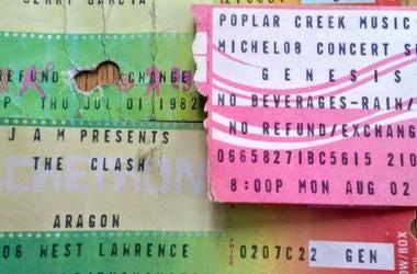 ticket stubs from 1982: Jerry Garcia Auditorium, Clash Aragon, Genesis Poplar Creek