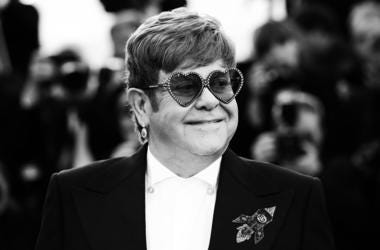 """CANNES, FRANCE - MAY 16: (EDITOR'S NOTE: This image has been digitally altered) Elton John attends the screening of """"Rocketman"""" during the 72nd annual Cannes Film Festival on May 16, 2019 in Cannes, France. (Photo by Vittorio Zunino Celotto/Getty Images)"""