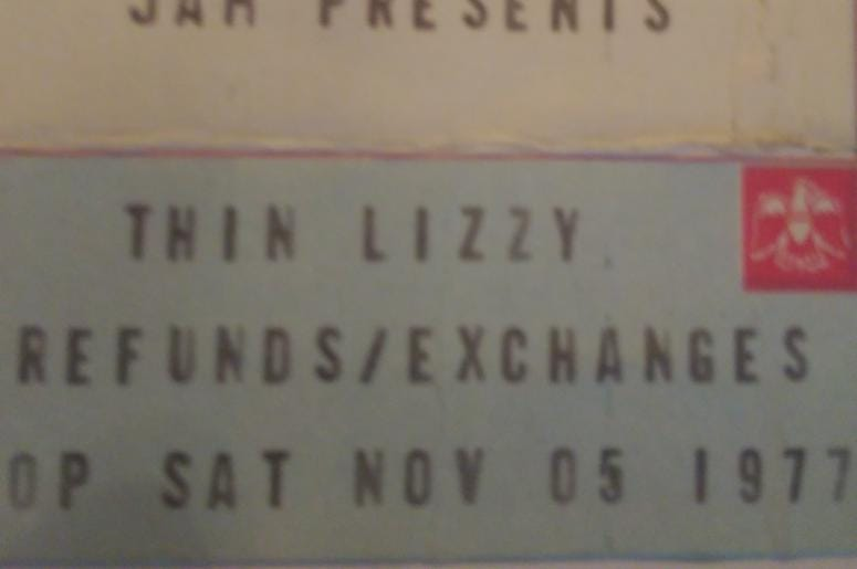 Thin Lizzy Ticket Stub Uptown Theater 1977