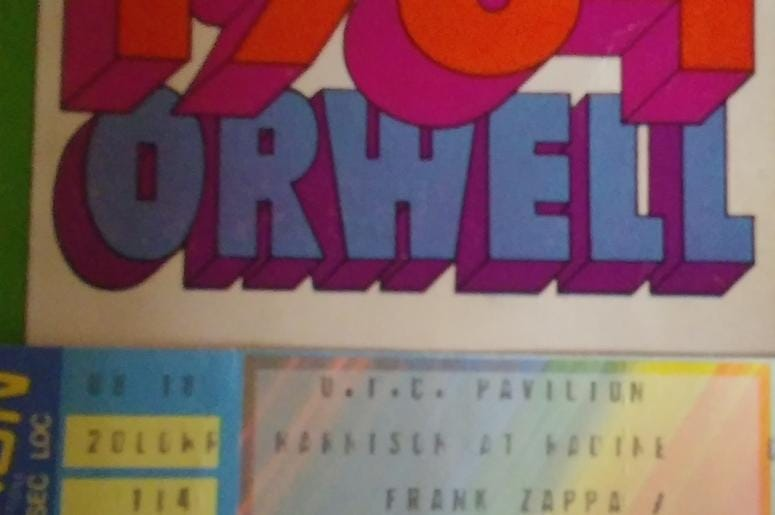 George Orwell 1984 Paperback With 1984 Zappa/Jerry Garcia Ticket Stub