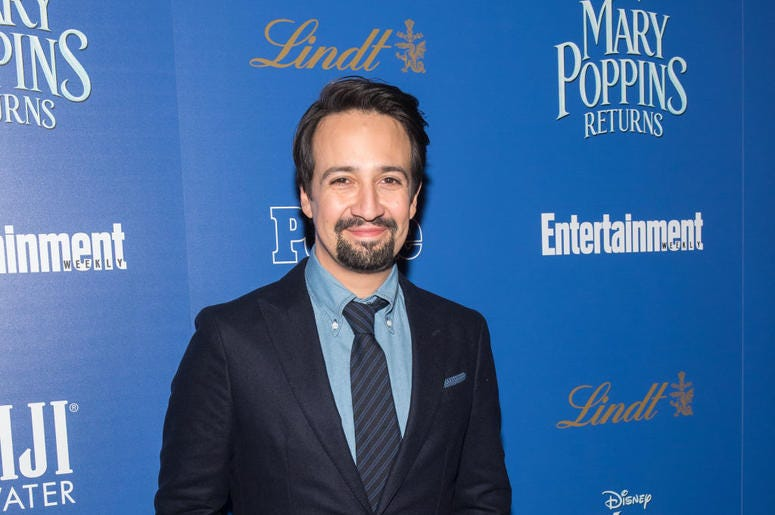 "NEW YORK, NY - DECEMBER 17: Actor/playwright Lin-Manuel Miranda attends The Cinema Society's screening of ""Mary Poppins Returns"" co-hosted by Lindt Chocolate at SVA Theatre on December 17, 2018 in New York City. (Photo by Mike Pont/Getty Images for Lindt"