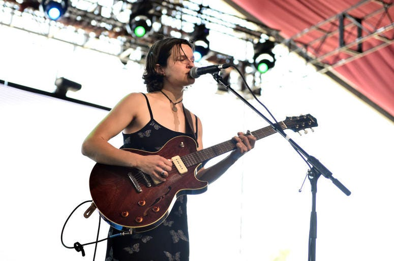 INDIO, CA - APRIL 14: Adrianne Lenker of Big Thief performs onstage during 2018 Coachella Valley Music And Arts Festival Weekend 1 at the Empire Polo Field on April 14, 2018 in Indio, California. (Photo by Matt Cowan/Getty Images for Coachella)