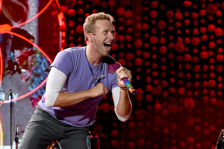 Chris Martin of Coldplay performs live in concert.
