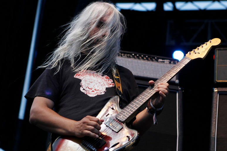 Guitarist J Mascis of Dinosaur Jr. performs during LouFest in St. Louis, Missouri on Saturday, August 25, 2012. (Photo by Zia Nizami/Belleville News-Democrat/MCT/Sipa USA)