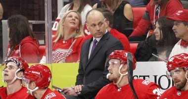 Jan 20, 2018; Detroit, MI, USA; Detroit Red Wings head coach Jeff Blashill looks on during the second period against the Carolina Hurricanes at Little Caesars Arena.