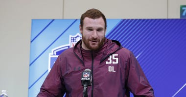 Mar 1, 2018; Indianapolis, IN, USA; Arkansas Razorbacks offensive lineman Frank Ragnow speaks to the media during the 2018 NFL Combine at the Indianapolis Convention Center.