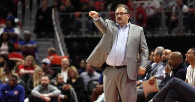 Mar 24, 2018; Detroit, MI, USA; Detroit Pistons head coach Stan Van Gundy points up the court during the fourth quarter against the Chicago Bulls at Little Caesars Arena.