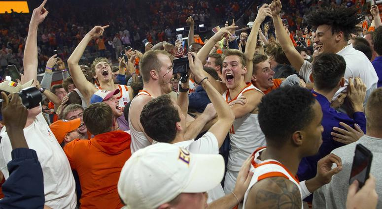 Clemson storms the court