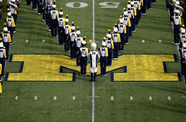 University of Michigan Marching Band Stands in Formation