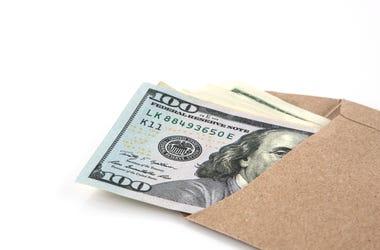 Envelope Filled with Twenty Dollar Bills