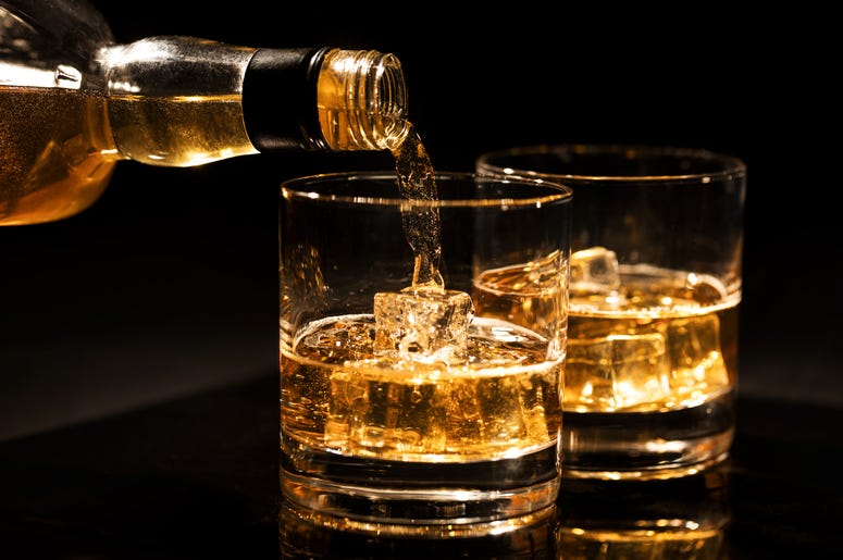 Bourbon Poured in Glasses
