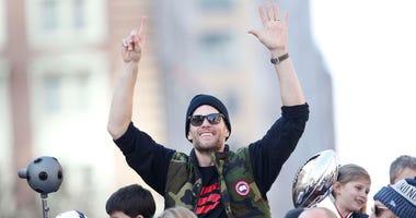 Tom Brady celebrates at the New England Patriots' Super Bowl parade