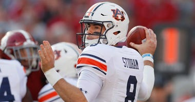 Auburn quarterback Jarrett Stidham throws a pass against Alabama in 2018.