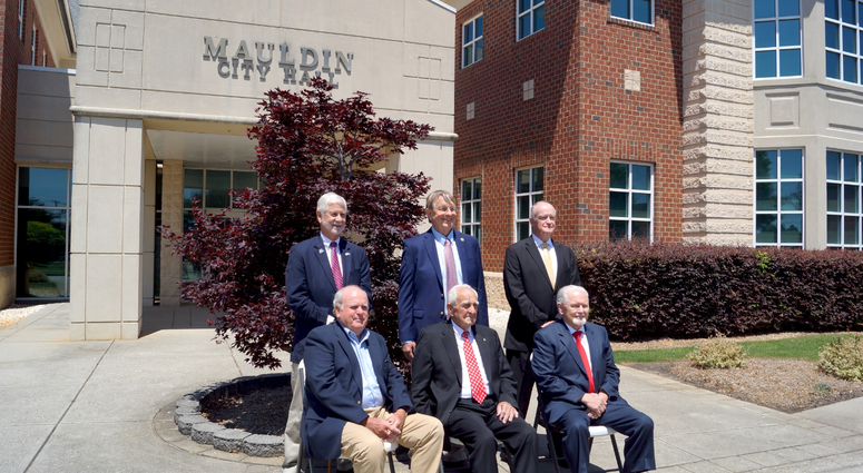 Mauldin City Government - Back Row (standing), L to R: Terry Merritt, Don Godbey, and Dennis Raines; Front Row (sitting), L to R: Wayne Crick, L.S. Green, and R.C. Jones