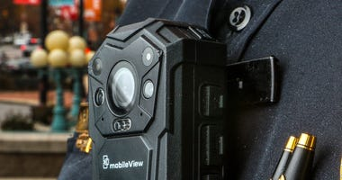An Anderson police officer wears a MobileView police body camera at the police department in Anderson.  Deputies in the Anderson County Sheriff's Office do not have body cameras
