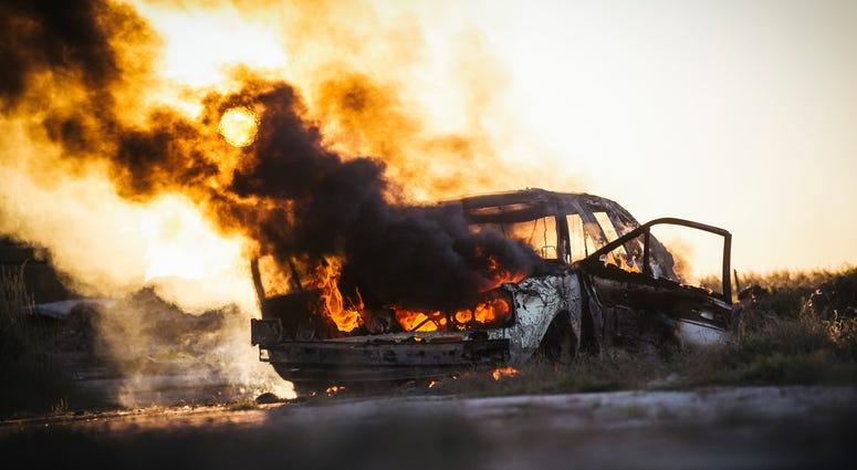 Body found inside burning vehicle