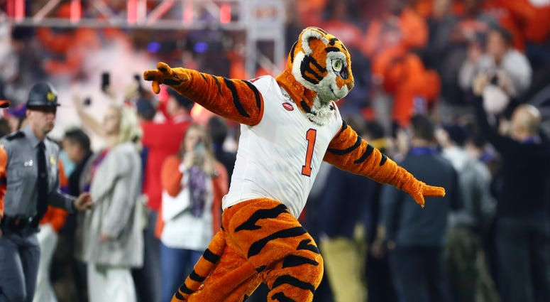 Dec 28, 2019; Glendale, AZ, USA; Clemson Tigers mascot performs before the 2019 Fiesta Bowl college football playoff semifinal game against the Ohio State Buckeyes at State Farm Stadium. Mandatory Credit: Matthew Emmons-USA TODAY Sports