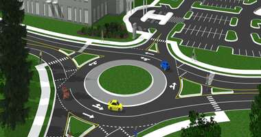 A roundabout along Connection Parkway
