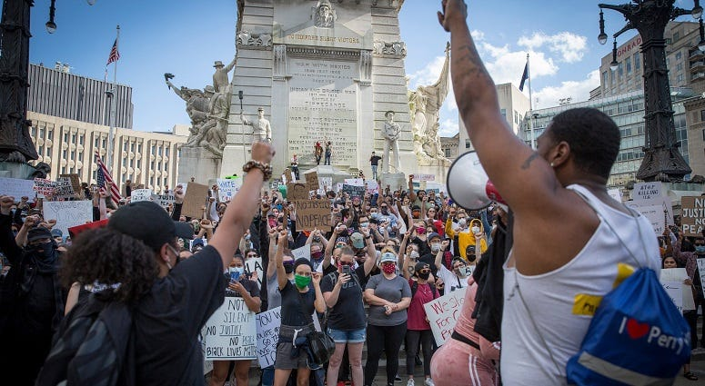 Protesters in Indianapolis May 30, 2020