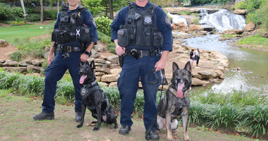 GPD K9 Officers patrolling Falls Park.