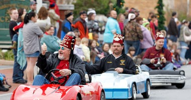 Hejaz Shriners ride miniature cars along Main Street during Sunday's Christmas parade in Anderson in 2011. Anderson Christmas Parade Memories 2011