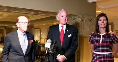 L-R: U.S. Secretary of Commerce Wilbur Ross, Governor Henry McMaster, and Lt. Gov. Pamela S. Evette