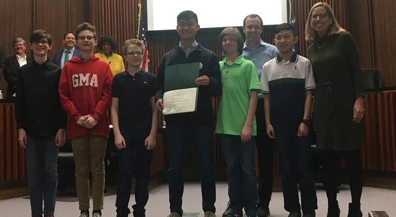 City Council recognizes middle school lego robotics team for their app